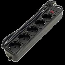 Сетевой фильтр Ultra Power, 3м, 5 розеток СЕЕ 7/4, входная вилка СЕЕ 7/7, корпус черный из негорючего материала