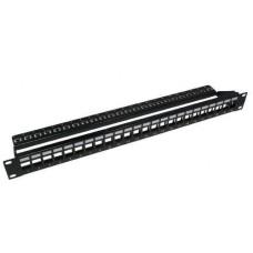 """1U 19"""" Патч-панель модульная 24-портовая STP c менеджментом кабеля, без модулей (холостая)"""