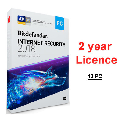 (BTD897) -  Bitdefender Internet Security 2019 (лицензия на два года, 10-ПК)