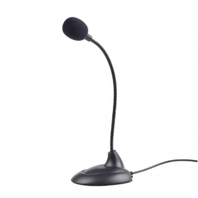 Gembird MIC-205 Desktop microphone with flexible gooseneck and practical on/off switch, 3.5 mm audio plug, cable length 2 m, Black