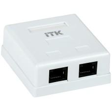 ITK Настенная информационная розетка RJ45 8P8C кат.5E UTP 2-порта, белая