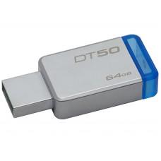 USB 3.1 Flash Drive 64GB Kingston DataTraveler 50, Metal casing, Compact, Lightweight, Capless design, R/W: 110/15 MByte/s, Silver/Blue