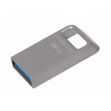 USB 3.1 Flash Drive 32GB Kingston DataTraveler Micro, Metal casing, Compact and Lightweight, World's smallest USB Flash drive R/W: 100/15 MByte/s, silver