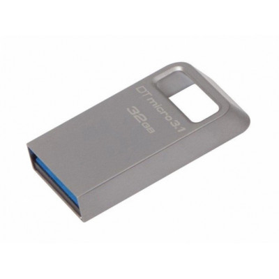 (DTMC3/32GB) - USB 3.1 Flash Drive 32GB Kingston DataTraveler Micro, Metal casing, Compact and Lightweight, World's smallest USB Flash drive R/W: 100/15 MByte/s, silver