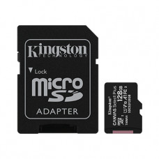 MicroSD Card with SD Adapter 128GB Kingston Canvas Select Plus Class10 with Android A1 Performance Class UHS-I 600x Up to 100MB/s