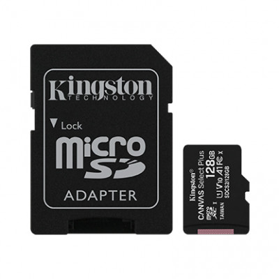 (SDCS2/128GB) - MicroSD Card with SD Adapter 128GB Kingston Canvas Select Plus Class10 with Android A1 Performance Class UHS-I 600x Up to 100MB/s