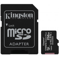 MicroSD Card with SD Adapter 256GB Kingston Canvas Select Plus Class10 with Android A1 Performance Class UHS-I 600x Up to 100MB/s