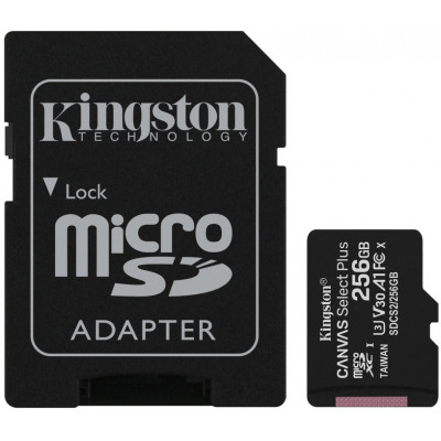 (SDCS2/256GB) - MicroSD Card with SD Adapter 256GB Kingston Canvas Select Plus Class10 with Android A1 Performance Class UHS-I 600x Up to 100MB/s