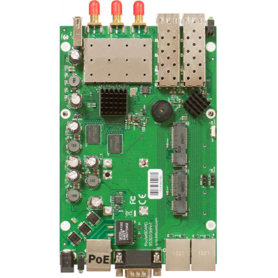 (RB953GS-5HnT-RP) - RB953GS-5HnT-RP 720MHz CPU, 128MB RAM, 3x Gigabit Ethernet, 2xSFP cage, built-in 5GHz 3x3 MIMO wireless, 2x miniPCI-e, 2x SIM, USB, 3xRPSMA connectors, RouterOS L5