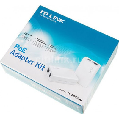 (TL-PoE200) - TP-LINK TL-PoE200, Power over Ethernet Adapter Kit, 1 Injector and 1 Splitter included, 100 meters PoE extension, 12/9/5VDC output, Plug and Play