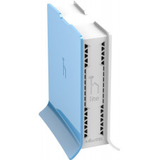 hAP lite TC Small home AP with four ethernet ports and a colorful enclosure.
