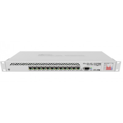 (CCR1016-12G) - CCR1016-12G 1U rackmount, 12x Gigabit Ethernet, LCD, 16 cores x 1.2GHz CPU, 2GB RAM, 17.8mpps fastpath, Up to 12Gbit/s throughput, RouterOS L6, Dual PSU
