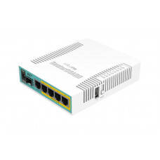 hEX PoE 5x Gigabit Ethernet with PoE output for four ports, SFP, USB, 800MHz CPU, 128MB RAM, RouterOS L4